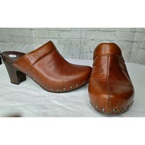 Dansko Brown Leather Studded Clogs SZ 39